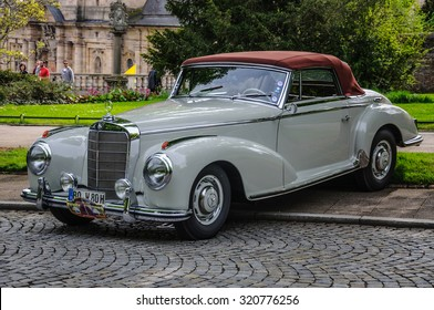 FULDA, GERMANY - MAY 2013: Mercedes-Benz 300S Coupe W188 retro car on May 9, 2013 in Fulda, Germany