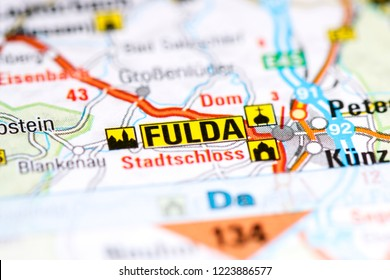 Fulda. Germany on a map