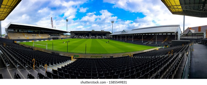 Fulham, London - November 15, 2019:A panoramic view of Fulham Football Club inside the Craven Cottage stadium just before the riverside stand was brought down for renovation in November.