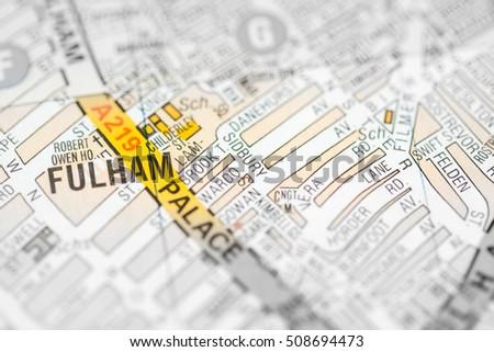 Fulham London Uk Map Stock Photo Edit Now 508694473 Shutterstock
