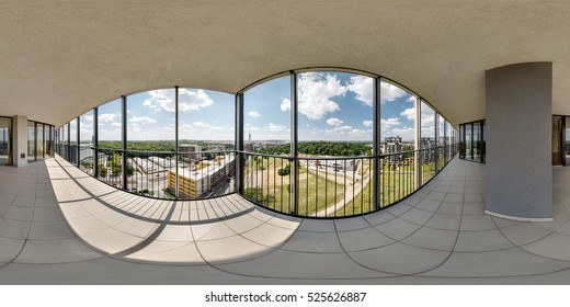 Full 360 by 180 degree seamless panorama in equirectangular equidistant spherical projection, Skybox for VR content. 360 panorama of View from the balcony to the green city on a sunny day