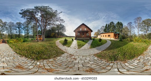 Full 360 by 180 degree angle seamless panorama in equirectangular spherical projection. 360 panorama view near vacation home in autumn evening forest. Skybox as background for virtual reality content