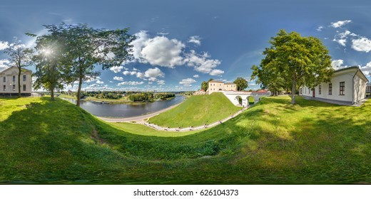Full 360 by 180 degrees seamless view panorama in equirectangular equidistant spherical projection on the ruins of an ancient medieval castle over the river neman in sunny day. Skybox for VR content