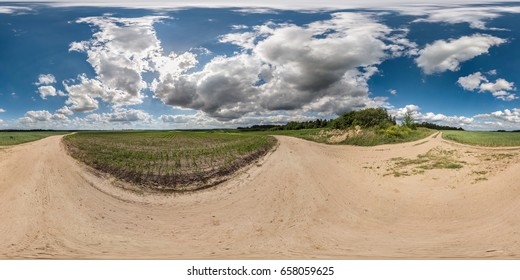 full 360 by 180 degrees seamless panorama in equirectangular spherical projection. 360 panorama view  on road with beautiful day and awesome clouds. Skybox as background for virtual reality content