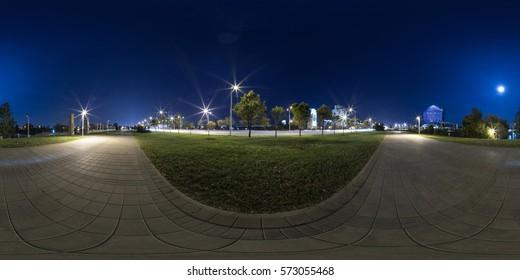 Full 360 degree equirectangula panorama night city