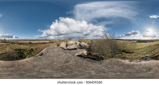 Full 360 degree equirectangular spherical panorama as skybox background for vr content. Approaching storm on the ruined military fortress of the First World War.