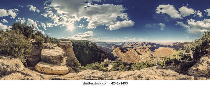 full 360 degree panorama of Grand Canyon South Rim, Grandview Point, Arizona, USA, Vintage filtered style