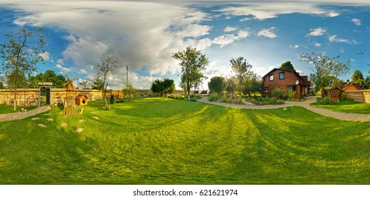 Full 360 degree seamless panorama in equirectangular spherical projection. Panorama 360 angle view outside vacation wooden village home in sunny evening day. Skybox for virtual VR AR reality.