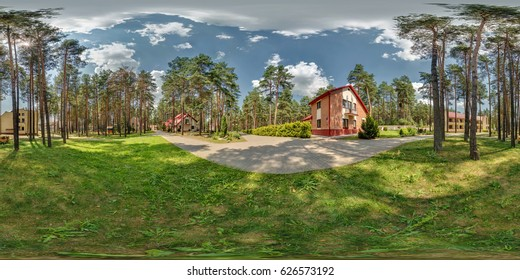 Full 360 degree seamless panorama in equirectangular spherical projection near vacation home in forest. Skybox for vr content