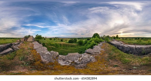 full 360 degree seamless panorama in equirectangular spherical equidistant projection. Panorama near abandoned fortress of First World War at sunset. Skybox as background for virtual reality content