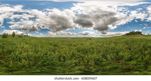 full 360 degree seamless panorama in equirectangular spherical equidistant projection. Panorama view  in a meadow in beautiful day with nice clouds. Skybox as background for virtual reality content