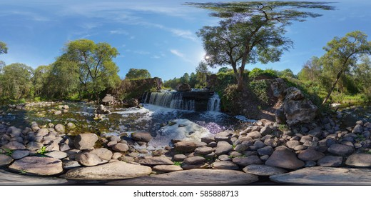 Full 360 degrees panorama in equirectangular equidistant spherical projection of Beautiful waterfall in Belarus