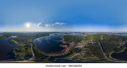 Full 360 degrees panorama in equirectangular equidistant spherical projection of Braslav lakes in Belarus. VR content