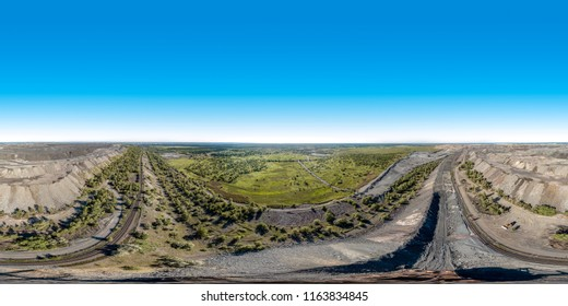 Full 360 degrees panorama of granite quarry from the aerial view in equirectangular equidistant spherical projection. skybox for VR content