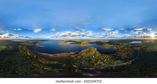 Full 360 degrees panorama of Lakes from the aerial view in equirectangular equidistant spherical projection. skybox for VR content