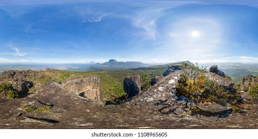 Full 360 degrees panoramic image of Sororopan mount summit. 2x1 Equirectangular projection, seamless image, 360x180 F.O.V., ready for virtual reality.