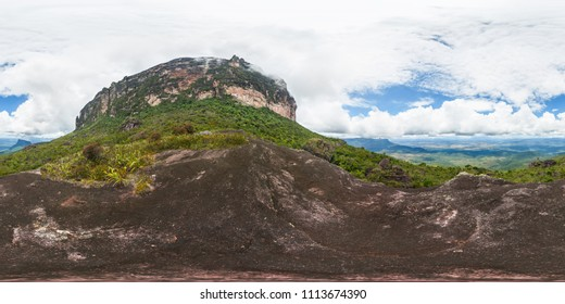 Full 360 degrees panoramic image of Putari mount base camp, in Canaima National park, Venezuela. 2x1 Equirectangular projection, seamless image, 360x180 F.O.V., ready for virtual reality.