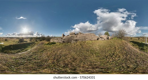Full 360 equirectangular equidistant spherical panorama as background. Approaching storm on the ruined military fortress of the First World War. Skybox for VR content