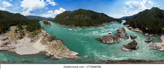 Full 360 equirectangular spherical panorama of Aerial view of Katun river, in summer morning in Altai mountains, drone shot. Virtual reality content