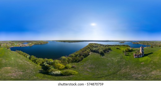 Full 360 equirectangular spherical panorama aerial view with a beautiful landscape with a lake. Very High resolution - 70 Mpx. virtual reality content