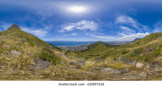 Full 360 virtual reality panoramic of Lions Head and Table Mountain peaks in Cape Town, South Africa