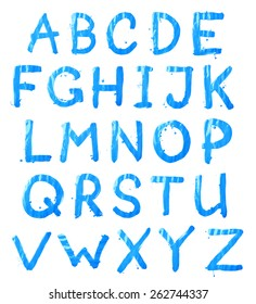 Full ABC alphabet letter set of 26 characters hand drawn with the oil paint brush strokes, isolated over the white background