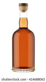 Full alcohol bottle with a wooden stopper isolated on white background. Tincture, balsam, whiskey, cognac, brandy. 3D Mock up for your design.