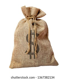 Full bag  of coarse fabric with dollars on a white isolated background