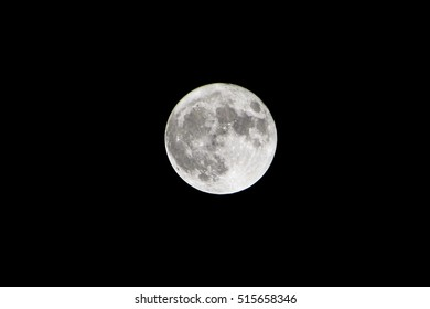 Full biggest supermoon with black sky on 14th November 2016 in Armenian Republic. Supermoon 2016 in black and white colors. Biggest supermoon 2016.