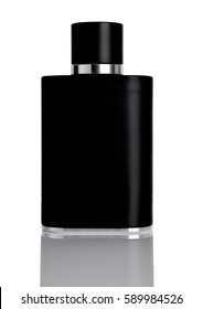 Full black glass jar of perfume with reflection on white background