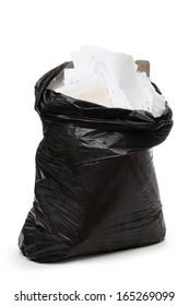 Full black plastic bag on white