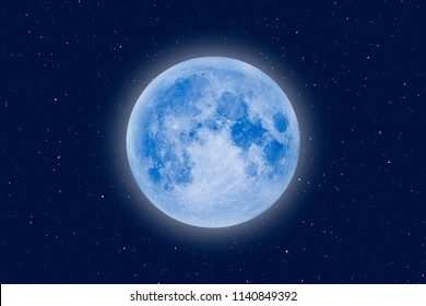 "Full Blue Moon ""Elements of this image furnished by NASA """