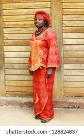 Full body of African woman in traditional clothing or boubou