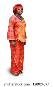 Full body of African woman in traditional clothing isolated on white
