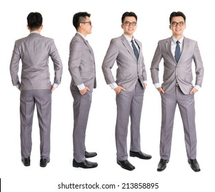 Full body Asian businessman in different angle, front, side and rear view. Standing isolated on white background. Asian male model.