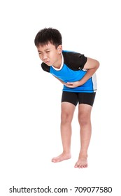 Full body of asian child athletes suffering from stomachache and his hand on belly. Human facial expression feeling. Young cyclist with painful gesture. Isolated on white background. Studio shot