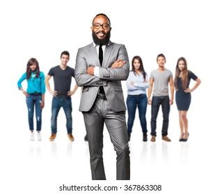 full body business black man smiling