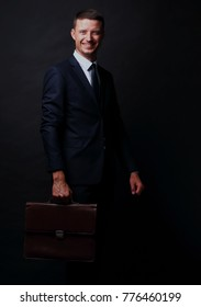 Full body business man  with briefcase