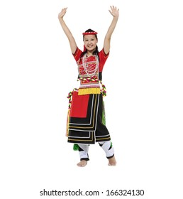 Full body casual woman dance wearing tradition bright costumes
