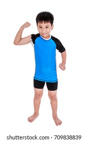 Full body of children powerful. Asian strong and confident boy cyclist is flexing biceps muscle fitness exercise and smiling happily. Healthy child lifestyle. Isolated on white background. Studio shot