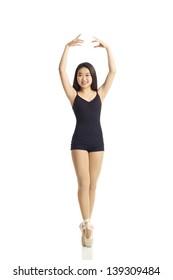 Full Body Dance Portrait of Young Teen En Pointe