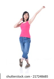 Full body Excited happy success young woman with fists up