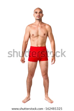 e126af0d05 Full body of fit muscular man wearing only red underwear. Topless guy  isolated on white