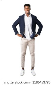 Full body of Handsome african american man wearing a jacket posing with arms at hip on white background