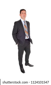 A full body image of a handsome middle age man in a suit, with his hands