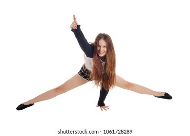A full body image of a happy young woman with her legs stretched