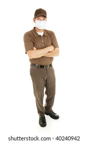 Full body isolated view of a delivery person or other worker wearing a surgical mask to protect from flu.