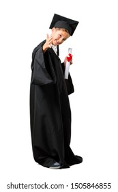 Full body of Little boy graduating handshaking after good deal on isolated white background