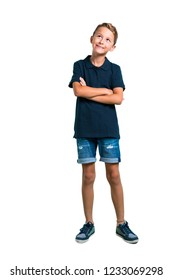 Full body of Little boy stand and looking up on white background