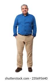 full body mature man standing over white